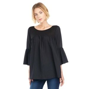 French Connection Black Bell Sleeve Babydoll Top